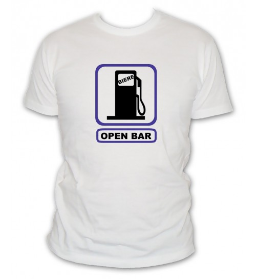 T-shirt Open Bar pompe a essence biere