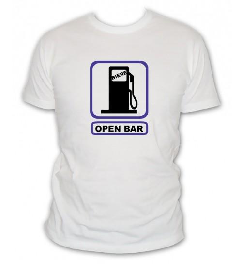 T-shirt Open Bar pompe a essence biere