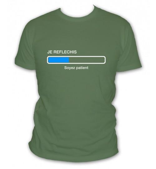 """T-shirt humour barre de chargement geek Homme /""""Je réfléchis.../"""""""